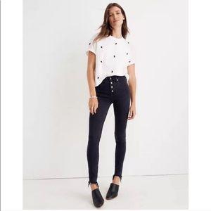 "Madewell 9"" Mid Rise Skinny Jeans Berkeley Black"